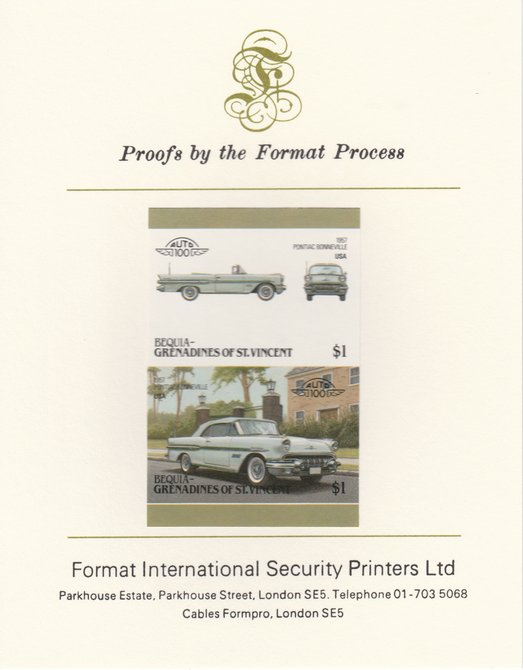 St Vincent - Bequia 1986 Cars #6 (Leaders of the World) $1 (1957 Pontiac Bonneville) imperf se-tenant pair mounted on Format International proof card