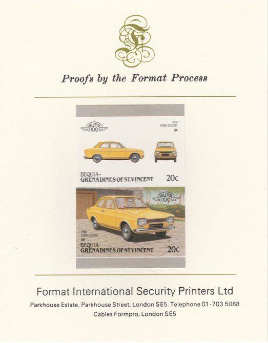 St Vincent - Bequia 1986 Cars #6 (Leaders of the World) 20c (1968 Ford Escort) imperf se-tenant pair mounted on Format International proof card