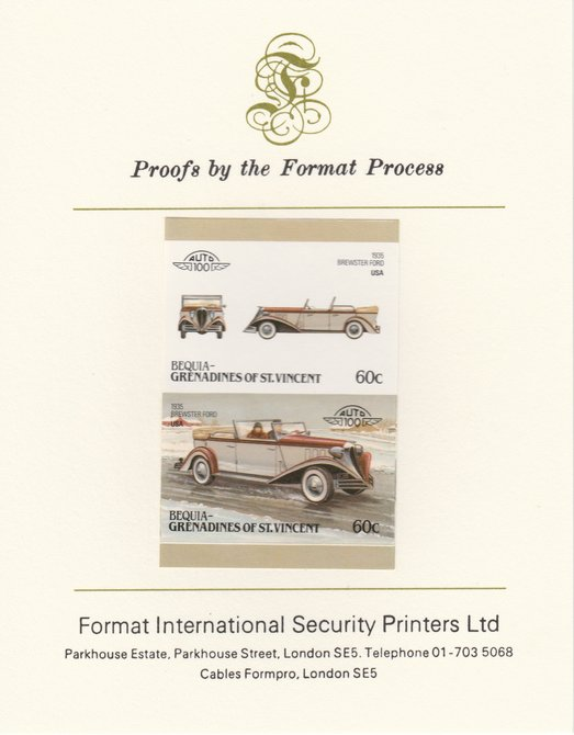 St Vincent - Bequia 1986 Cars #6 (Leaders of the World) 60c (1935 Brewster Ford) imperf se-tenant pair mounted on Format International proof card