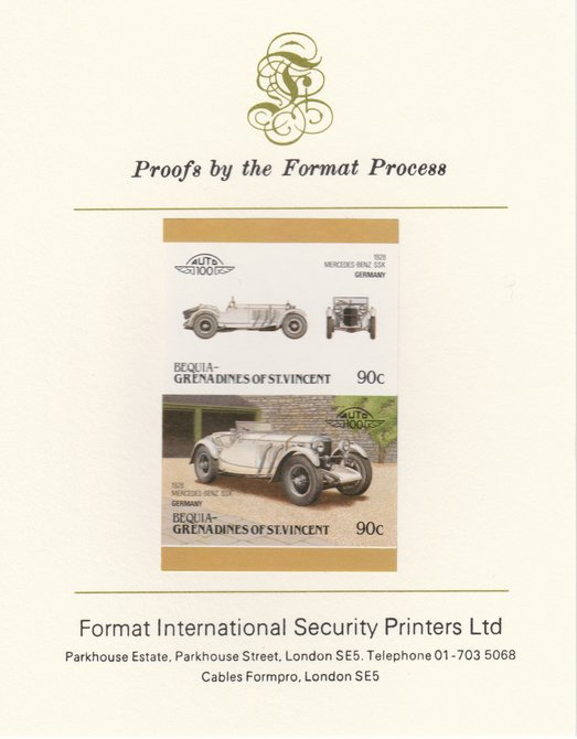 St Vincent - Bequia 1986 Cars #6 (Leaders of the World) 90c (1928 Mercedes Benz) imperf se-tenant pair mounted on Format International proof card