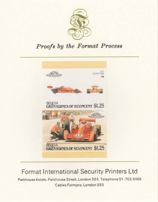 St Vincent - Bequia 1987 Cars #7 (Leaders of the World) $1.25 (1977 Coyote Ford) imperf se-tenant pair mounted on Format International proof card