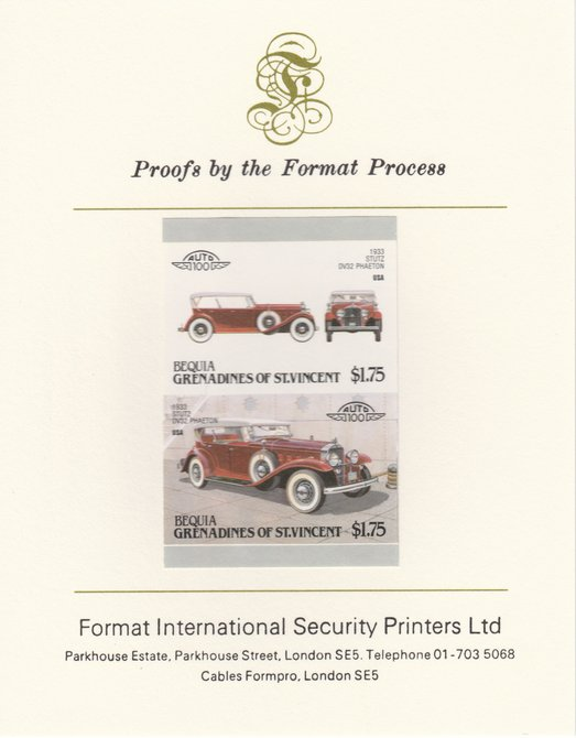 St Vincent - Bequia 1987 Cars #7 (Leaders of the World) $1.75 (1933 Stutz DV32 Phaeton) imperf se-tenant pair mounted on Format International proof card