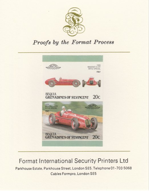 St Vincent - Bequia 1987 Cars #7 (Leaders of the World) 20c (1939 Maserati  8 CTF) imperf se-tenant pair mounted on Format International proof card