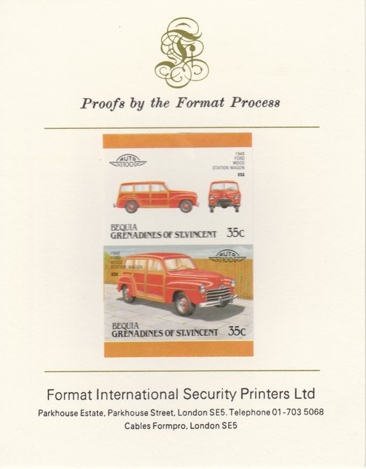 St Vincent - Bequia 1987 Cars #7 (Leaders of the World) 35c (1948 Ford Station Wagon) imperf se-tenant pair mounted on Format International proof card