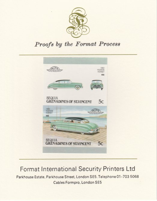 St Vincent - Bequia 1987 Cars #7 (Leaders of the World) 5c (1952 Hudson Hornet) imperf se-tenant pair mounted on Format International proof card