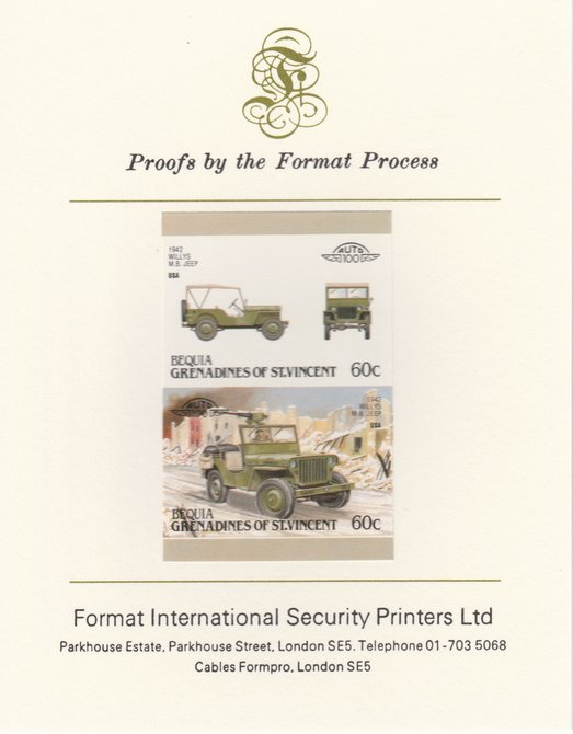 St Vincent - Bequia 1987 Cars #7 (Leaders of the World) 60c (1942 Willys MB Jeep) imperf se-tenant pair mounted on Format International proof card