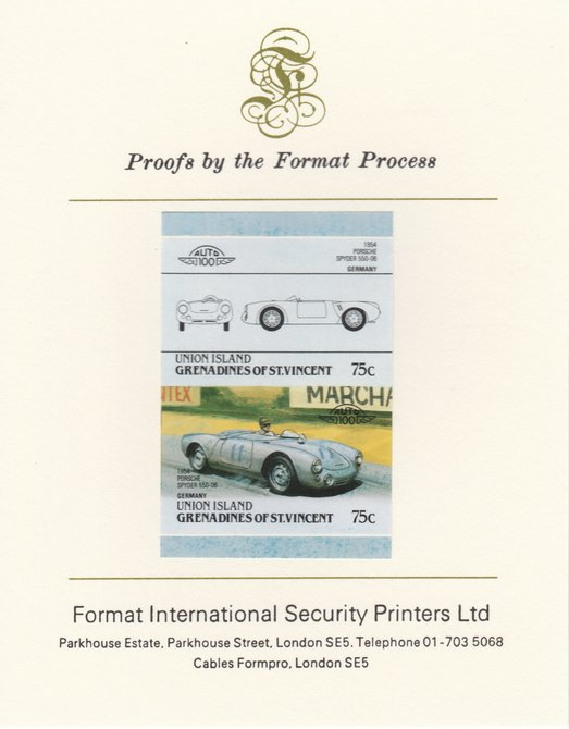 St Vincent - Union Island 1986 Cars #4 (Leaders of the World) 75c (1954 Porsche) imperf se-tenant pair mounted on Format International proof card