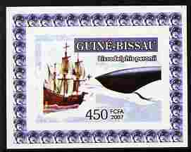 Guinea - Bissau 2007 Dolphins & Tall Ships #4 imperf individual deluxe sheet unmounted mint. Note this item is privately produced and is offered purely on its thematic appeal