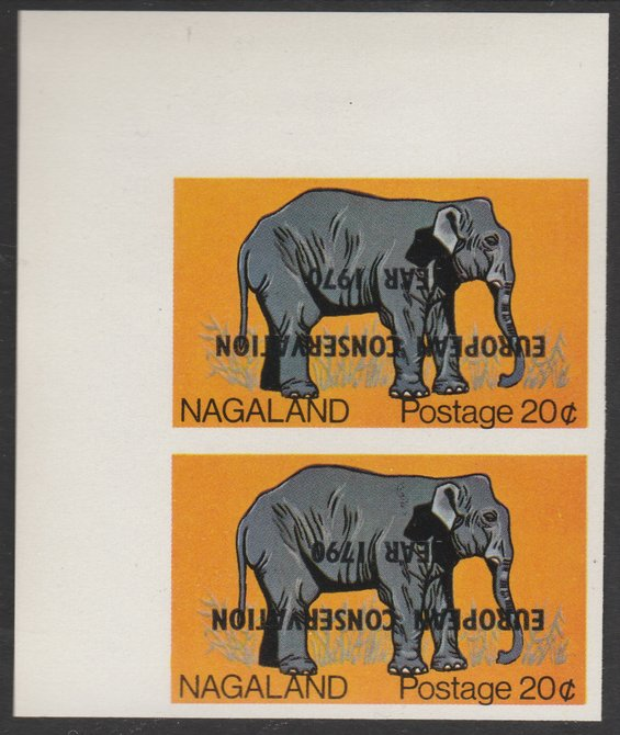 Nagaland 1970 European Conservation Year overprint INVERTED on corner pair of 20c Elephant, - one with 1790 error, unmounted mint