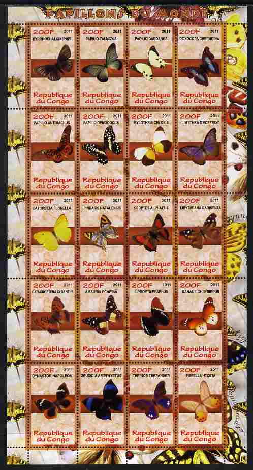 Congo 2011 Butterflies of the World #2 perf sheetlet containing 20 values unmounted mint