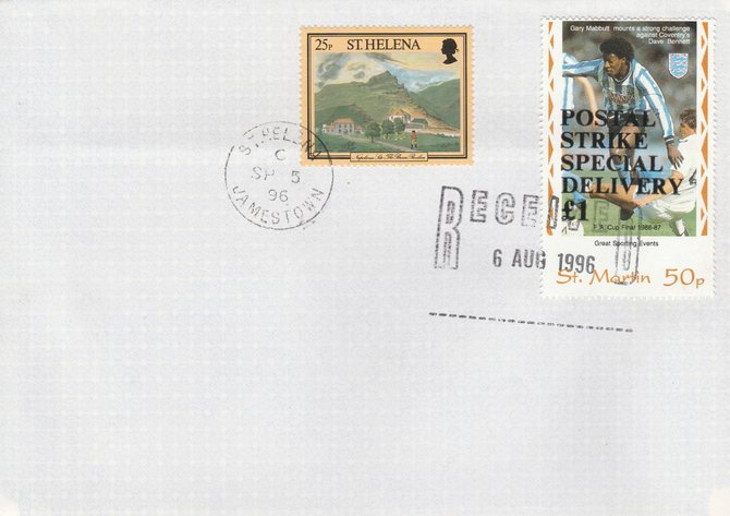 Great Britain 1996 Postal Strike cover to St Helena bearing St Martin 25p (Great Britain local) opt