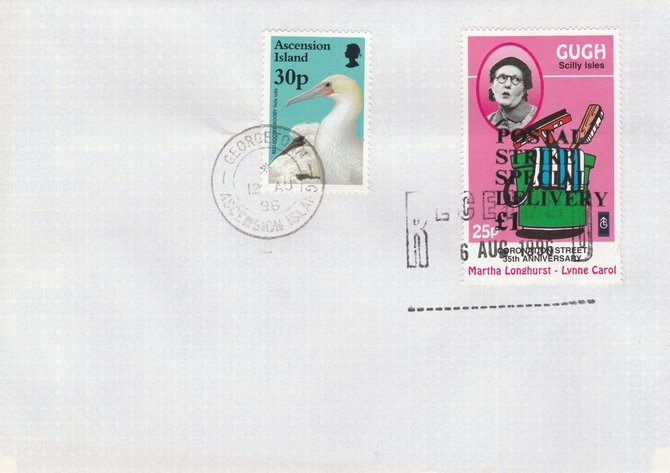 Great Britain 1996 Postal Strike cover to Ascension bearing Gugh 25p (Great Britain local) opt'd 'Postal Strike Special Delivery \A31' cancelled 6 Aug plus Ascension 25p Red-footed Booby cancelled 12 Aug