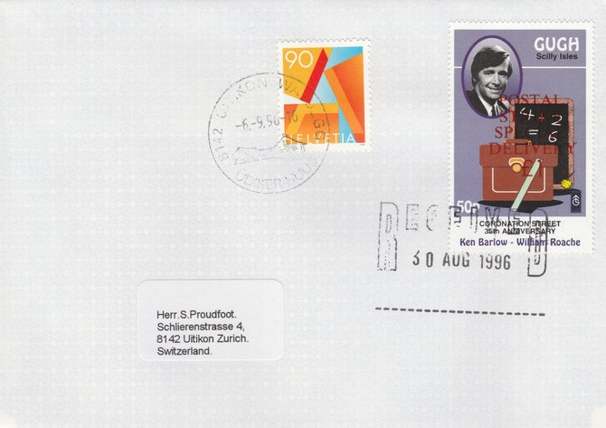 Great Britain 1996 Postal Strike cover to Switzerland bearing Gugh 50p (Great Britain local) opt'd 'Postal Strike Special Delivery \A31' cancelled 30 Aug plus Swiss 90c  adhesive cancelled 6 September