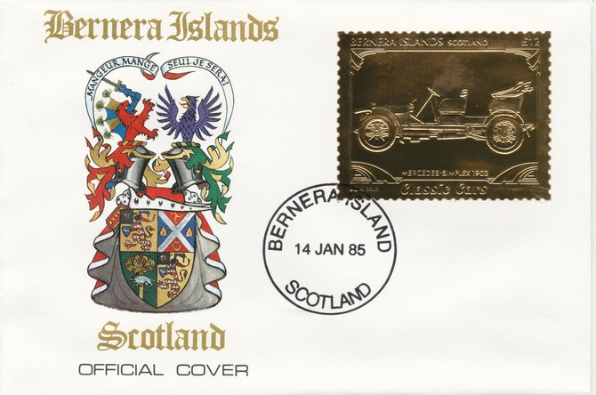 Bernera 1985 Classic Cars - 1902 Mercedes \A312 value perforated & embossed in 22 carat gold foil on special cover with first day cancel