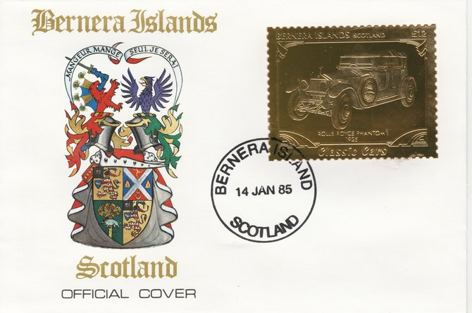 Bernera 1985 Classic Cars - 1925 Rolls Royce Phantom \A312 value perforated & embossed in 22 carat gold foil on special cover with first day cancel