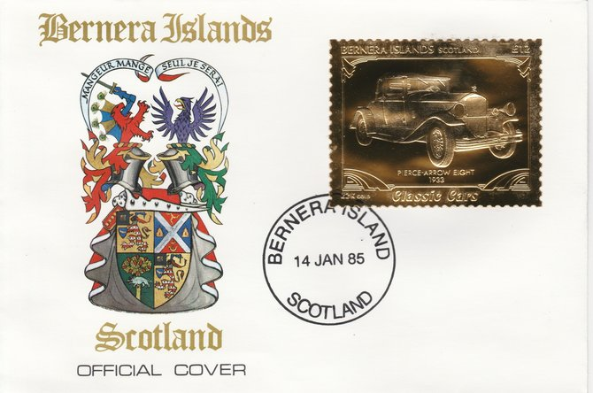 Bernera 1985 Classic Cars - 1933 Pierce Arrow \A312 value perforated & embossed in 22 carat gold foil on special cover with first day cancel