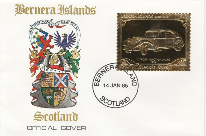 Bernera 1985 Classic Cars - 1934 Citroen \A312 value perforated & embossed in 22 carat gold foil on special cover with first day cancel