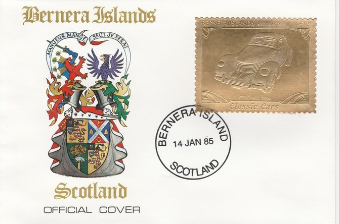 Bernera 1985 Classic Cars - 1936 Cord \A312 value perforated & embossed in 22 carat gold foil on special cover with first day cancel