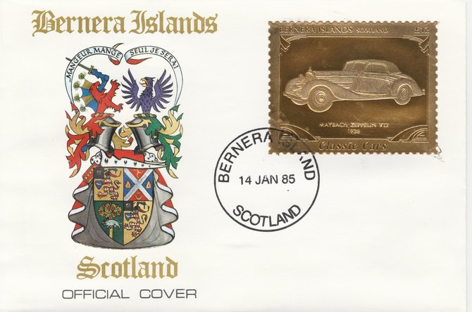 Bernera 1985 Classic Cars - 1938 Maybach Zeppelin V12 \A312 value perforated & embossed in 22 carat gold foil on special cover with first day cancel