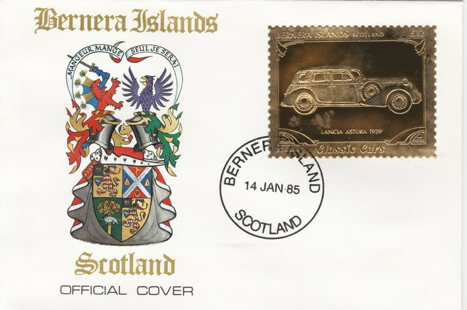 Bernera 1985 Classic Cars - 1939 Lancia Astura \A312 value perforated & embossed in 22 carat gold foil on special cover with first day cancel