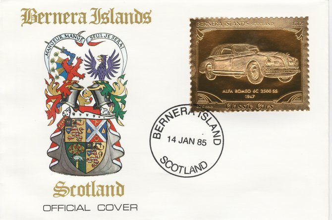 Bernera 1985 Classic Cars - 1947 Alfa Romeo \A312 value perforated & embossed in 22 carat gold foil on special cover with first day cancel