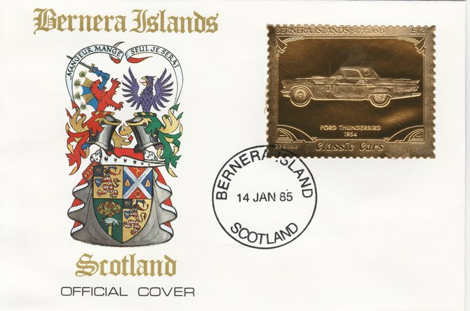 Bernera 1985 Classic Cars - 1954 Ford Thunderbird \A312 value perforated & embossed in 22 carat gold foil on special cover with first day cancel