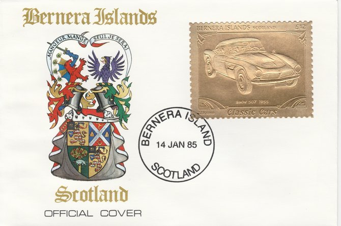 Bernera 1985 Classic Cars - 1955 BMW \A312 value perforated & embossed in 22 carat gold foil on special cover with first day cancel