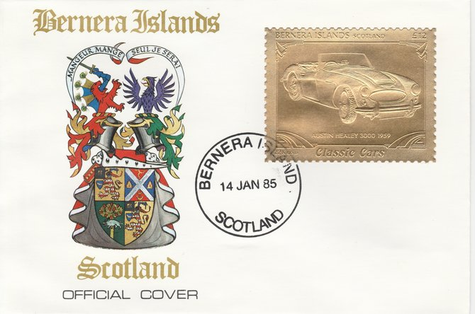 Bernera 1985 Classic Cars - 1959 Austin Healey \A312 value perforated & embossed in 22 carat gold foil on special cover with first day cancel