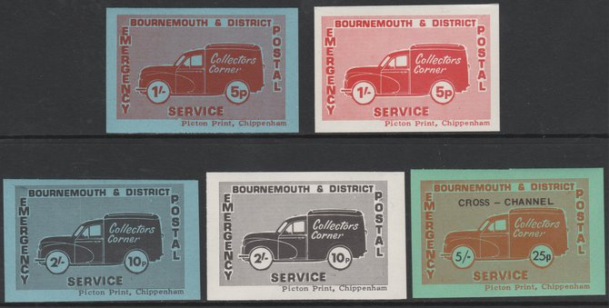 Cinderella - Great Britain 1971 Bournemouth & District Emergency Postal Service 'Collectors Corner Morris Van'  set of 5 in dual currency unmounted mint