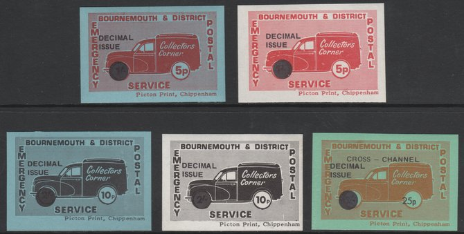 Cinderella - Great Britain 1971 Bournemouth & District Emergency Postal Service 'Collectors Corner Morris Van'  set of 5 for decimal currency unmounted mint