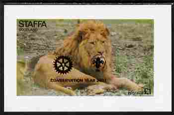 Staffa 2001 Conservation Year with Rotary & Scout Logos overprinted on 1976 Lion imperf souvenir sheet unmounted mint