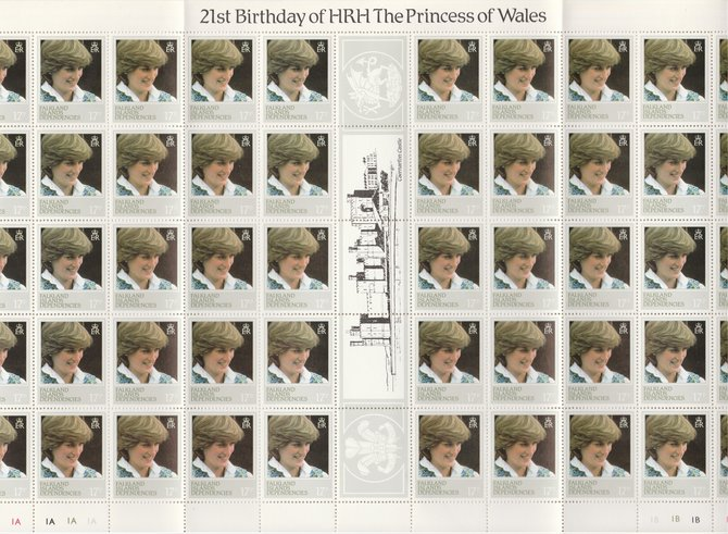 Falkland Islands Dependencies 1982 Princess Di's 21st Birthday 17p perf 13.5 variety complete sheet of 50 unmounted mint (SG 109a)