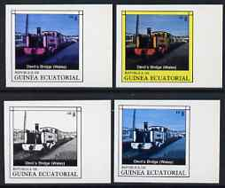 Equatorial Guinea 1977 Locomotives EK8 (Welsh Devil's Bridge) set of 4 imperf progressive proofs on ungummed paper comprising 1, 2, 3 and all 4 colours (as Mi 1148)
