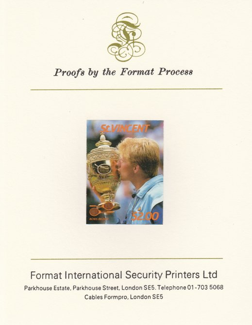 St Vincent 1987 International Tennis Players $2 Boris Becker imperf mounted on Format International Proof Card, as SG 1064