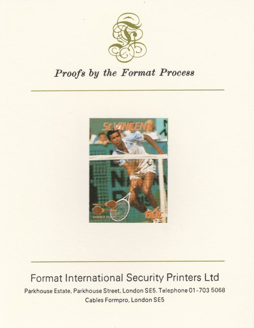 St Vincent 1987 International Tennis Players 60c Yannick Noah imperf mounted on Format International Proof Card, as SG 1058