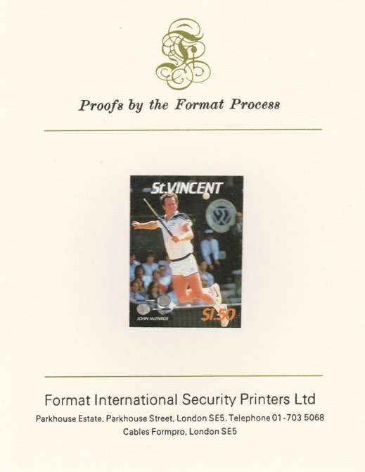 St Vincent 1987 International Tennis Players $1.50 John McEnroe imperf mounted on Format International Proof Card, as SG 1062
