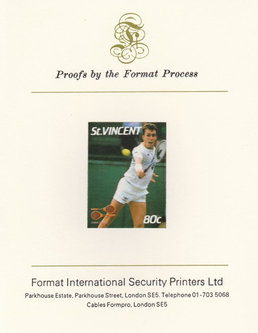 St Vincent 1987 International Tennis Players 80c Ivan Lendl imperf mounted on Format International Proof Card, as SG 1059