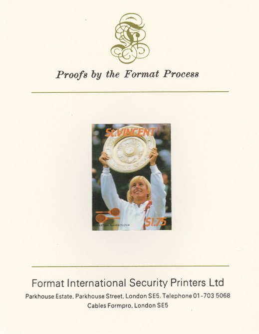 St Vincent 1987 International Tennis Players $1.75 Martina Navratilova imperf mounted on Format International Proof Card, as SG 1063