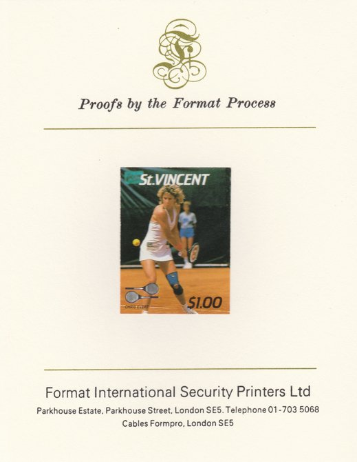 St Vincent 1987 International Tennis Players $1 Chris Evert imperf mounted on Format International Proof Card, as SG 1060