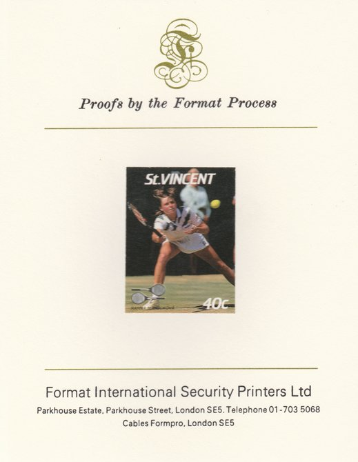 St Vincent 1987 International Tennis Players 40c Hanna Mandikova imperf mounted on Format International Proof Card, as SG 1057