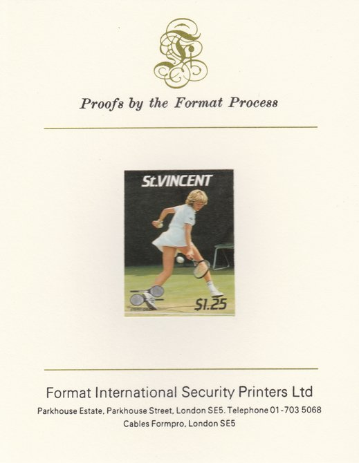 St Vincent 1987 International Tennis Players $1.25 Steffi Graf imperf mounted on Format International Proof Card, as SG 1061