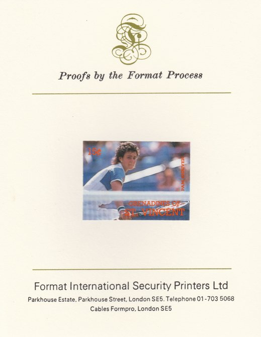 St Vincent - Grenadines 1988 International Tennis Players 15c Pam Shriver imperf mounted on Format International Proof Card, as SG 582
