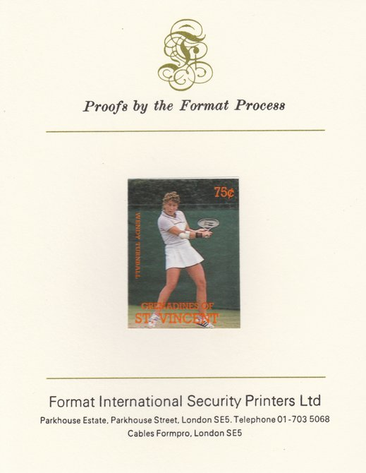 St Vincent - Grenadines 1988 International Tennis Players 75c Wendy Turnbull imperf mounted on Format International Proof Card, as SG 584