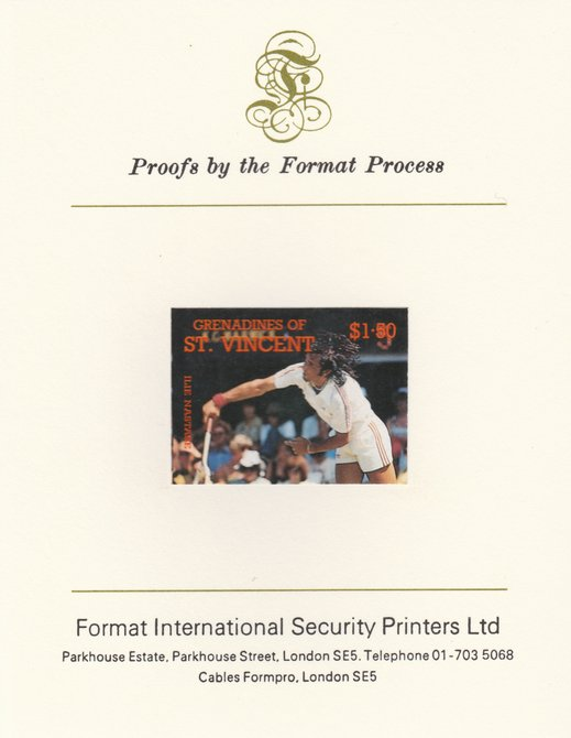 St Vincent - Grenadines 1988 International Tennis Players $1.50 Ilie Nastase imperf mounted on Format International Proof Card, as SG 586