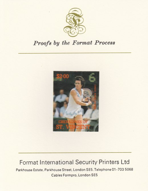 St Vincent - Grenadines 1988 International Tennis Players $2 Billie Jean King imperf mounted on Format International Proof Card, as SG 587