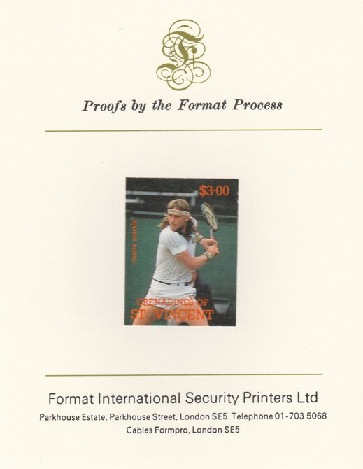 St Vincent - Grenadines 1988 International Tennis Players $3 Bjorn Borg imperf mounted on Format International Proof Card, as SG 588