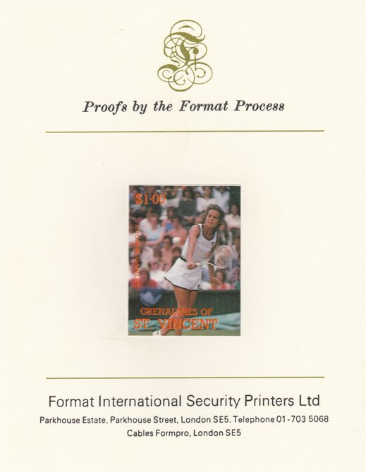 St Vincent - Grenadines 1988 International Tennis Players $1 Evonne Cawley imperf mounted on Format International Proof Card, as SG 585