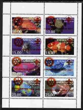 Karakalpakia Republic 2001 Conservation Year with Rotary & Scout Logos overprinted in red on 1997 Fish perf sheetlet containing set of 8 unmounted mint, stamps on rotary, stamps on scouts, stamps on fish