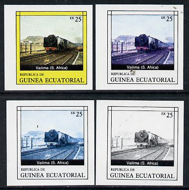 Equatorial Guinea 1977 Locomotives EK25 (S African Vailima) set of 4 imperf progressive proofs on ungummed paper comprising 1, 2, 3 and all 4 colours (as Mi 1149)