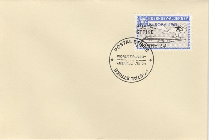 Guernsey - Alderney 1971 Postal Strike cover to Ireland bearing Viscount 3s overprinted Europa 1965 additionally overprinted